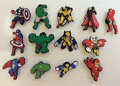 13 x Avengers Croc Shoe Charms Captain America Ironman Thor The Hulk Wolverine