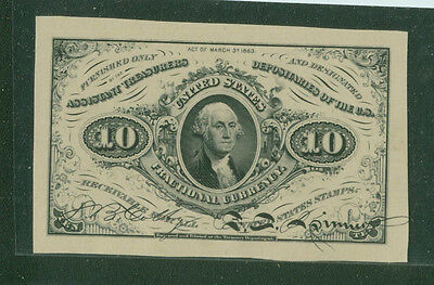 Ten Cent Note Third Issue Fractional Currency Laban Heath Proof 1870's