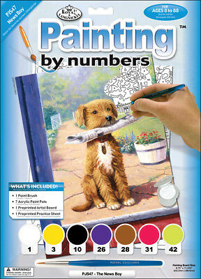 """Junior Small Paint By Number Kit 8.75""""X11.75"""" The News Boy PJS47"""