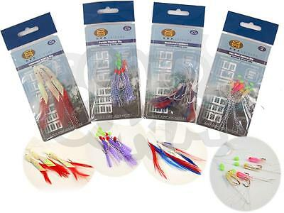 8 Packs Bass & Mackerel Herring Feathers Lure Lures Sea Boat Fishing Tackle Rigs
