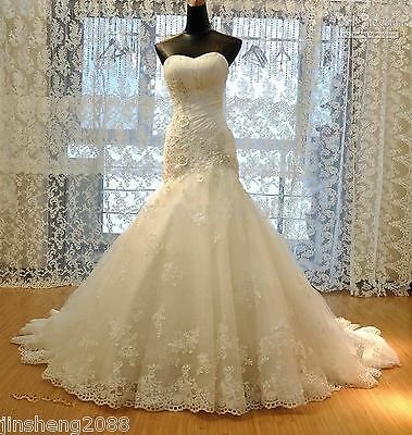 White Ivory Mermaid Gown Bridal Wedding Dress Custom Size 6 8 10 12 14 16