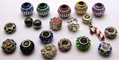 Vintage LOT OF 20 European Charms Colorful, Christmas, Rhinestones Silver Tone
