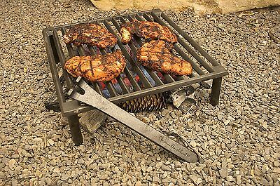 Campfire Grill Grate Iron Outdoor Camping Fishing Stove Open Fire Tripod Cook