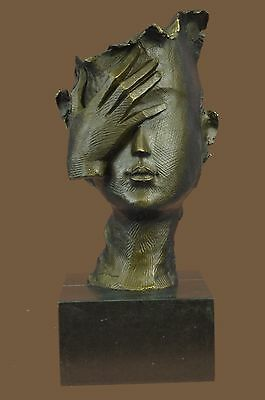 Face Palm Hand Over Eye Abstract Surreal Art Deco Bronze Dali Sculpture Statue