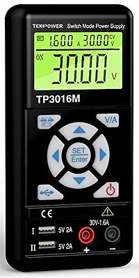 Tekpower TP3016M Portable 30V 1.6A Variable DC Power Supply with USB Port
