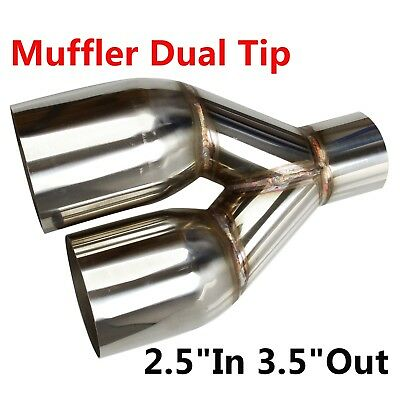"Polished Stainless Steel 2.5""In 3.5""Out Sliver Muffler Dual Exhaust Pipe Tip"