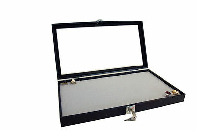 Key Lock Glass Top Display Case w/ Grey Velvet Foam for 144 Ring Jewelry Display