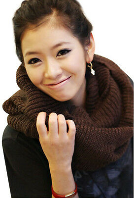 Women's Winter Warm Infinity 2 Circle Cable Knit Cowl Neck Long Scarf Shawl