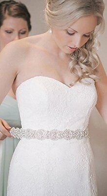 Wemosi  Rhinestone Pearl Glass Beads Beaded Wedding dress Bridal Sash Belt