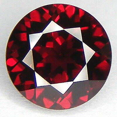 Round 8.6 Mm. Pigeon Blood Red Ruby Lab Corundum
