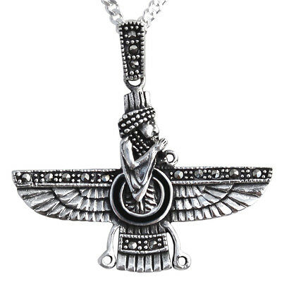 Sterling Silver 925 Farvahar Necklace Chain Persia Persian Zoroastrian Gift Art