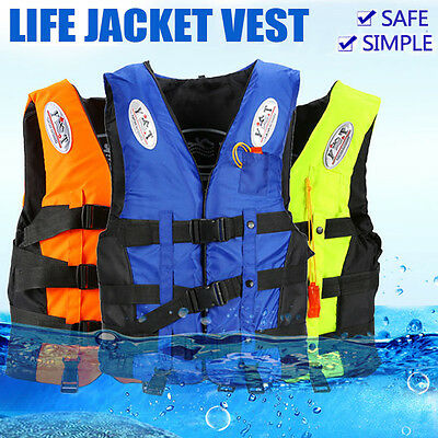 Life Jacket Vest Adult PFD Blue/Orange/Green Fully Enclosed Size S M L XL XXL
