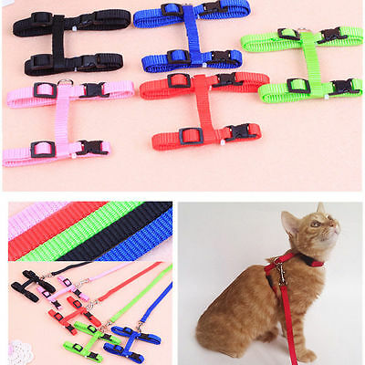 Nylon Pet Cat Kitten Adjustable Harness Lead Leash Neck Collar Belt Safety Rope