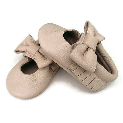 Genuine Leather Cara tassel moccasins cream soft sole baby shoes 10.5 11.5 12.5