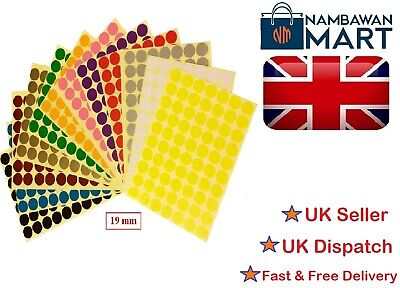 19mm Coloured Dots Round Stickers Sticky Adhesive Spot Circle Paper Labels BN UK