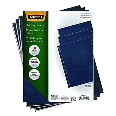 Fellowes Binding Grain Presentation Covers, Letter, Navy, 50 Pack (52124) New
