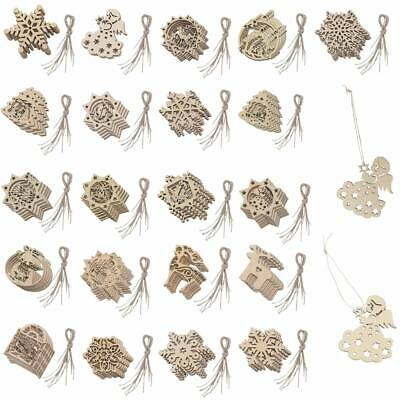 10pcs Plain Wooden Shapes Craft XMAS Ornament Christmas Tree Hanging Decorations