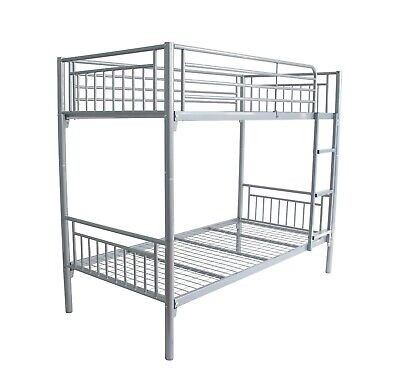 Montreal New Single 3ft Twin Bunk Bed Metal Sleeper with Sprung Mattress Option