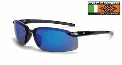 Crossfire 2968 ES5 Safety Glasses Blue Mirror Lens - Shiny Black Frame