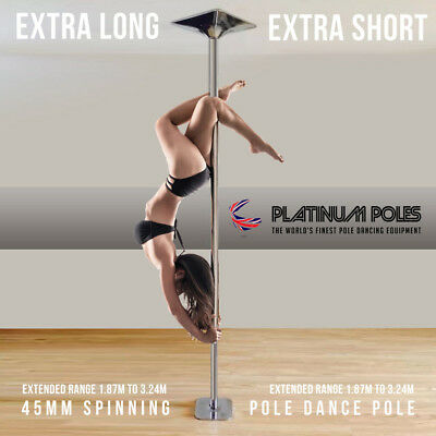 PLATINUM POLES™ 45mm Spinning Fitness Pole Dancing Dance Pole EXTRA HEIGHT ADJ