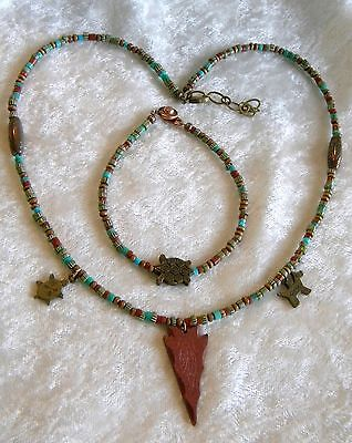 Pipestone Arrowhead & Rondelles Trade Beads Turquoise Wood Necklace & Bracelet