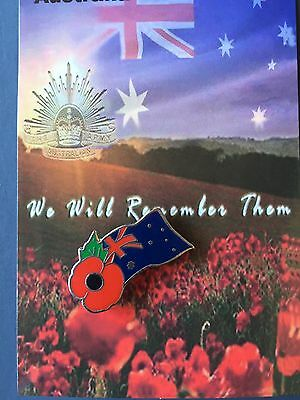 Australia Flag with Poppy  Remembrance Day Lapel Pin Badge # ANZAC DAY