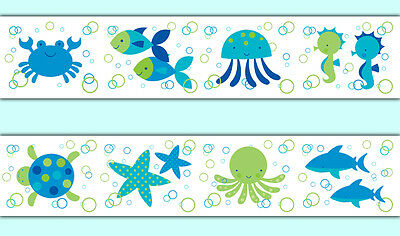 Sea Life Wallpaper Border Wall Art Decals Boy Ocean Animals Stickers Room Decor