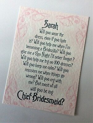 WILL YOU BE MY Personalised Poem themed card  - all varieties - Personalised