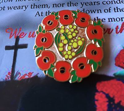 Australian Wattle with Poppy  Remembrance Day Lapel Pin Badge*ANZAC DAY PRIDE
