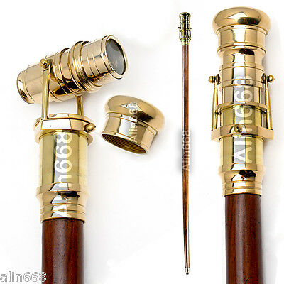 Walking Stick 39 inch with Fitted Solid Brass Telescope On Handle ~ Wooden Cane