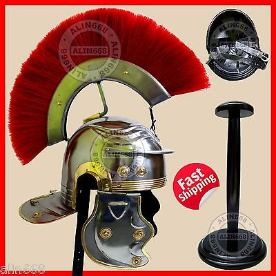 Medieval Roman Centurion Helmet Greek Deluxe Helmet with Leather Liner w/ Stand
