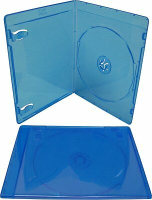 50 ESTUCHES / CAJAS SLIM FINAS INDIVIDUALES - 1 BLURAY - 7mm - AZUL TRANSPARENTE