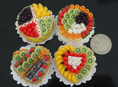 Set of 4 Assorted Fruit Cakes Dollhouse Miniatures Food Art Supply Deco Handmade