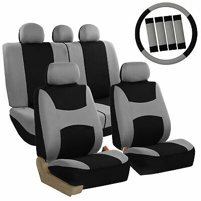 Car Seat Covers for Auto Full Set Gray w/Steering Wheel/Belt Pad/5Headrest