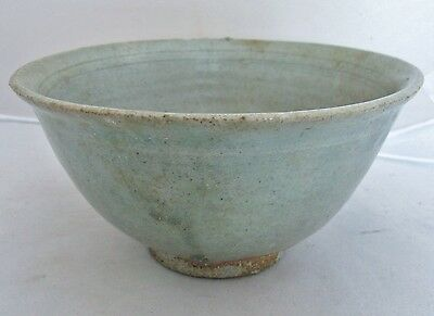 "7"" Antique Koryo Dynasty ? Korean Celadon Green Crackle Glaze Tea Bowl"