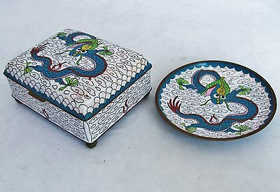 "Antique Chinese White Cloisonne DRAGON Smoking Set w/ 3.9"" Box & 3.75"" Ash Tray"