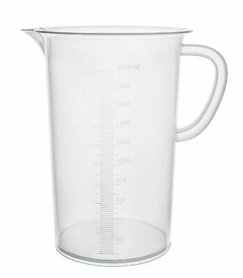 "2000ml Polypropylene ""Pitcher"" - Beaker with Handle and Spout, 20ml graduations"