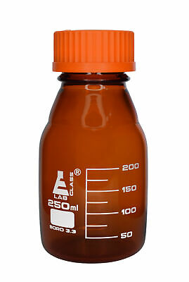 Eisco Labs 250ml Amber Reagent Bottle with Screw Cap and 50ml Graduations
