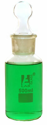 Eisco Labs 500ml Reagent Bottle - Borosilicate Glass with wide mouth and stopper