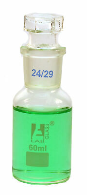 Eisco Labs 60ml Reagent Bottle - Borosilicate Glass with wide mouth and stopper