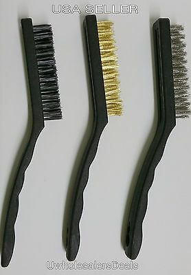 """3 pc Steel Brass Nylon Brushes 8.5"""" Wire Cleaning Brushes NEW"""
