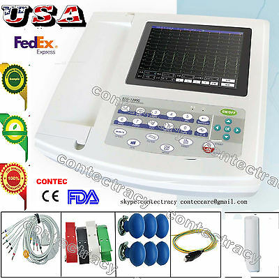 Digital 12 Channel 12 lead ECG/EKG machine+Touch Electrocardiograph,SW US seller