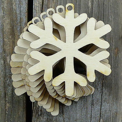10x Wooden Snowflake Craft Shapes 3mm Plywood Christmas Decoration Style F