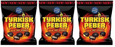 3 x bags of Tyrkisk Peber (Turkish Pepper) Hot Stones 150g candy Fazer Finland