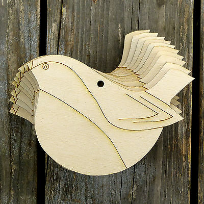 10x Wooden Robin Flying Bird Modern Style Craft Shapes 3mm Plywood Christmas