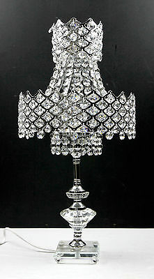 2 Tier Chandelier Crystal Bedside Table Cafe Lamp Stainless Steel Base 50cmH