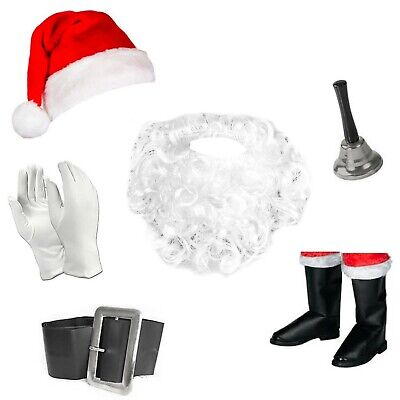 Adults / Kids Full Santa Fancy Dress Costume Accessories (Wig, Beard, Hat etc)