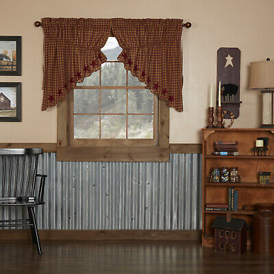 BLACK STAR Check SCALLOPED PRAIRIE SWAG SET Country Primitive