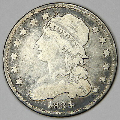 1834 Bust Quarter With 30* Rotated Rev - Nice Bold F++  Priced For Quick Sale!