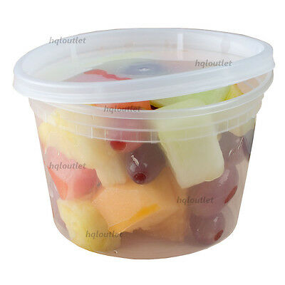 16 oz. Round Plastic Deli Food / Soup Containers with Lids Microwavable Options*